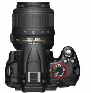 Een beeld van de keuzeknop op een Nikon DSLR